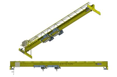 Top Running Single Girder Overhead Crane, Fabricated Box Construction, Dual Hoist