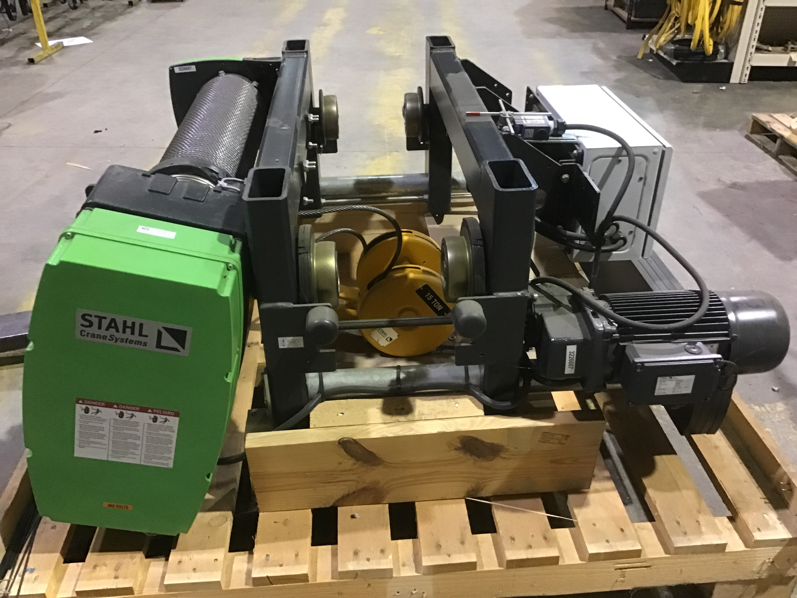For Sale: Stahl Crane Systems 15 Ton Capacity Electric Wire Rope Hoist with Single Girder, Close Headroom, Underhung Trolley